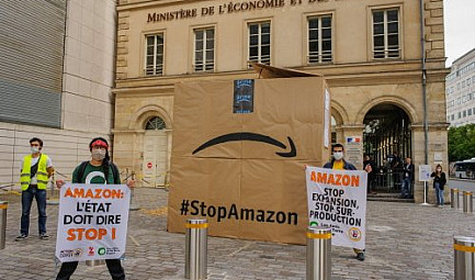 Contre l'expansion d'Amazon : ANV-COP21, Attac, Amis de la Terre et Action Climat Paris se mobilisent @amisd..